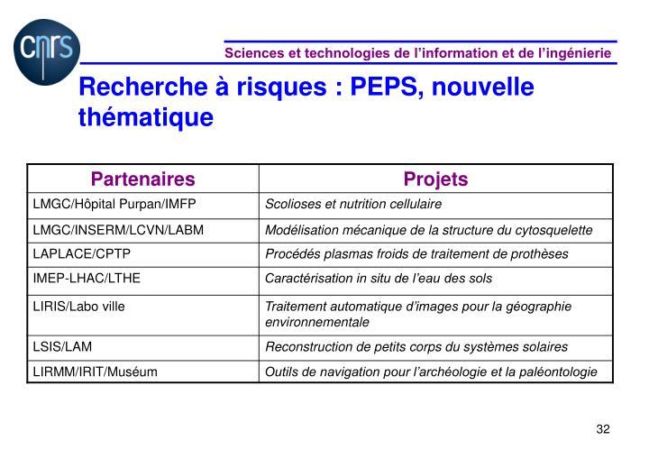 Recherche à risques : PEPS,