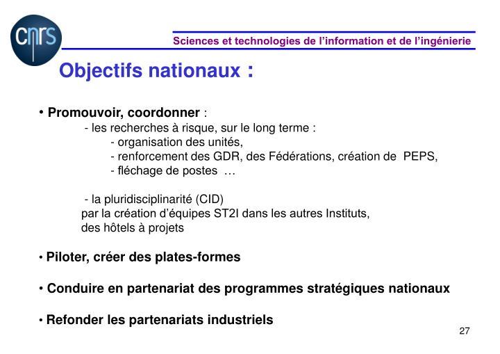 Objectifs nationaux