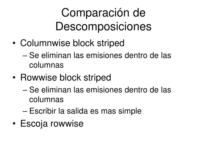 Comparación de Descomposiciones