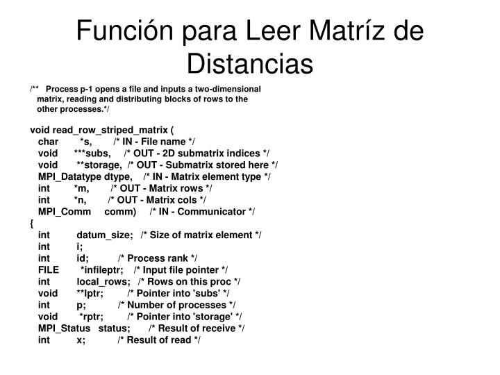 Función para Leer Matríz de Distancias