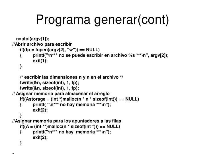 Programa generar(cont)