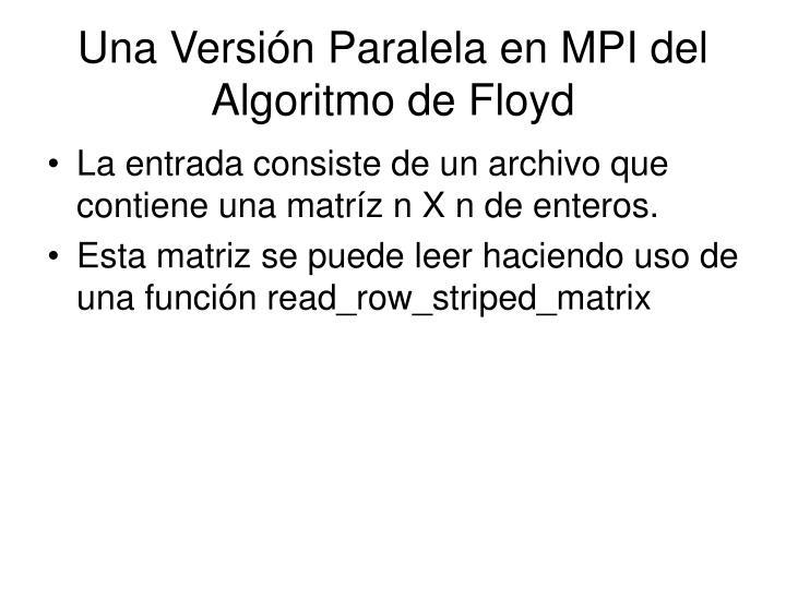 Una Versión Paralela en MPI del Algoritmo de Floyd