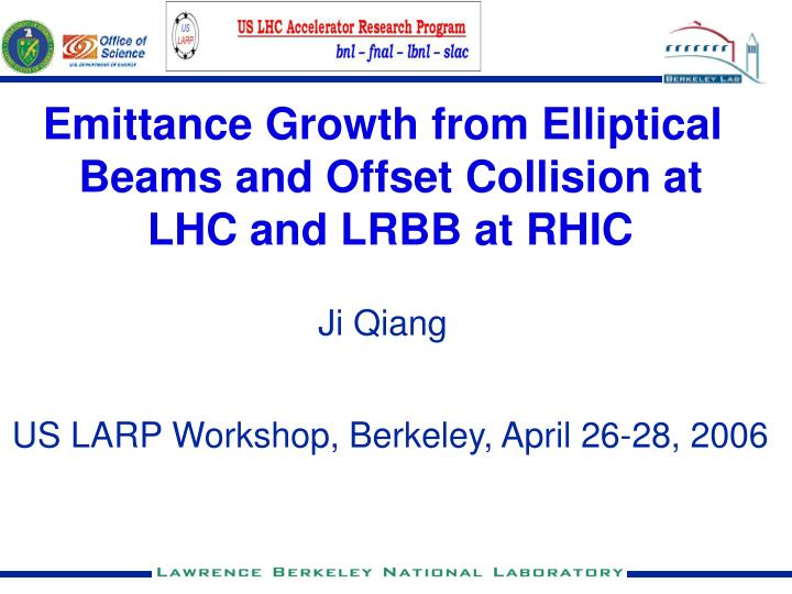 Emittance Growth from Elliptical Beams and Offset Collision at LHC and LRBB at RHIC