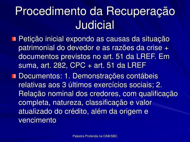 Procedimento da Recuperao Judicial