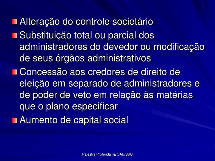 Alterao do controle societrio