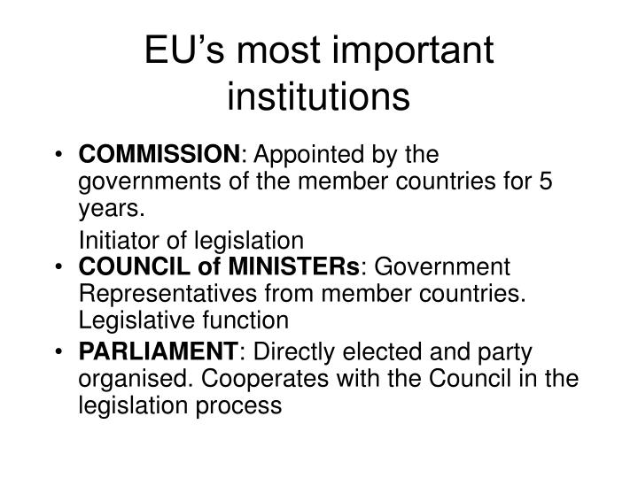 EU's most important institutions