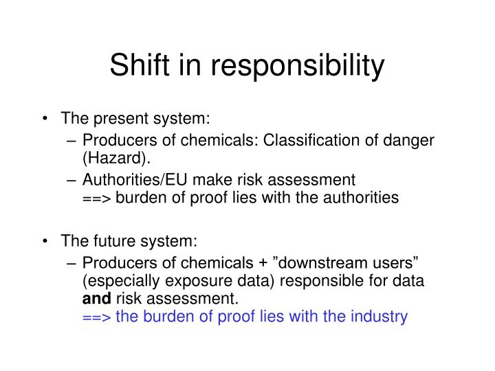 Shift in responsibility