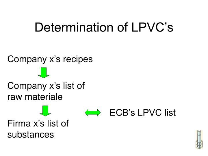 Determination of LPVC's