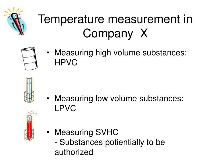 Temperature measurement in Company  X