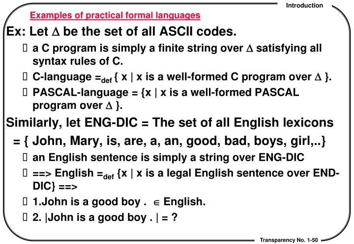 Examples of practical formal languages