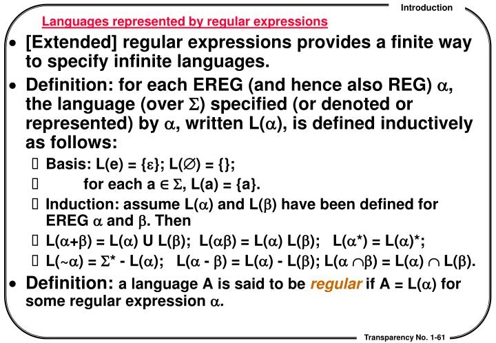 Languages represented by regular expressions