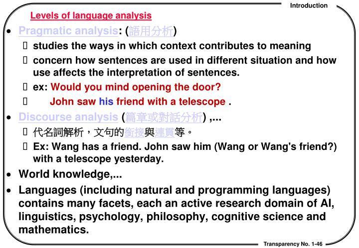 Levels of language analysis