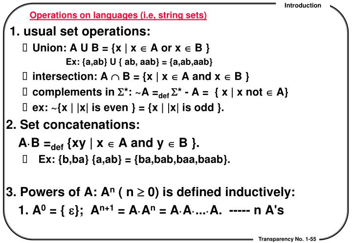 Operations on languages (i.e, string sets)