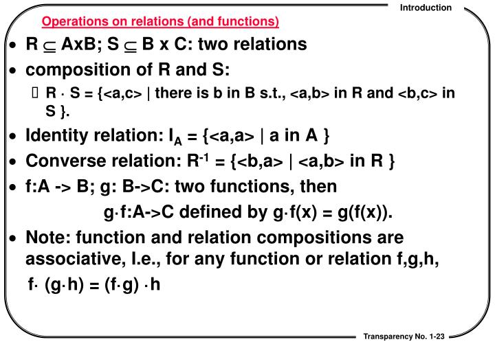 Operations on relations (and functions)