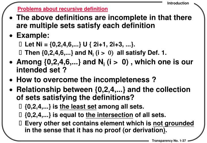 Problems about recursive definition
