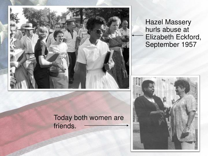 Hazel Massery hurls abuse at Elizabeth Eckford, September 1957