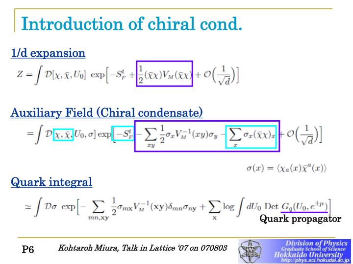 Introduction of chiral cond.
