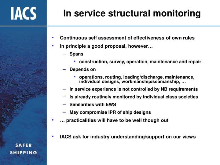 In service structural monitoring