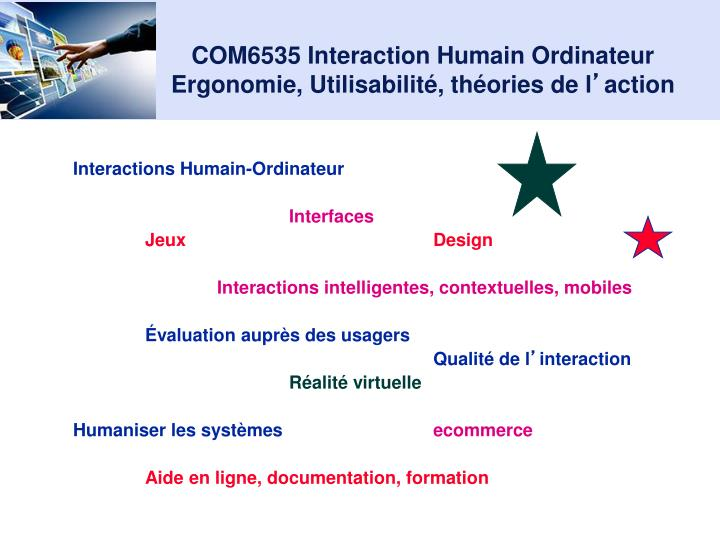 Com6535 interaction humain ordinateur ergonomie utilisabilit th ories de l action