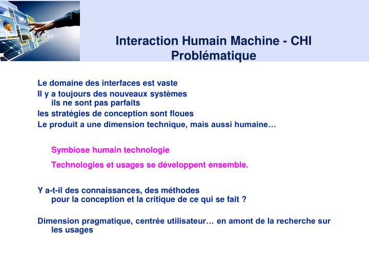 Interaction Humain Machine - CHI
