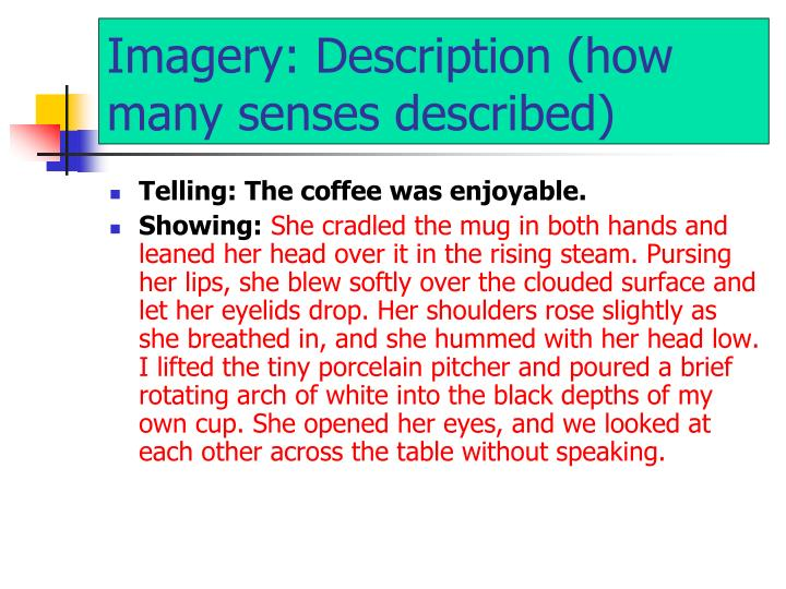 Imagery: Description (how many senses described)