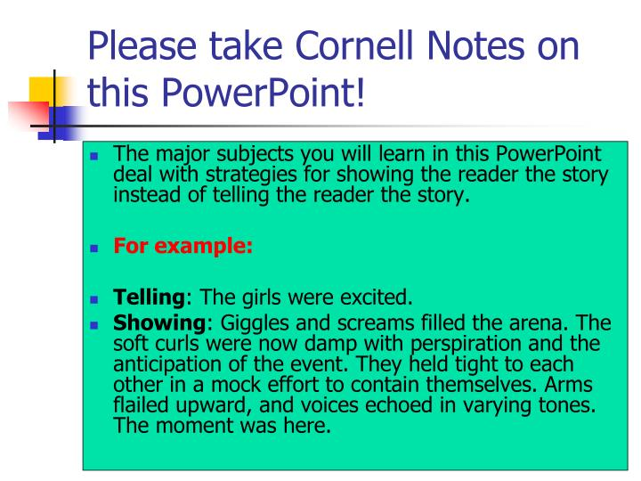 Please take Cornell Notes on this PowerPoint!