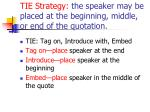 tie strategy the speaker may be placed at the beginning middle or end of the quotation