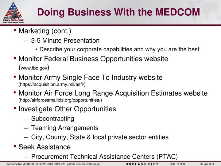 Doing Business With the MEDCOM