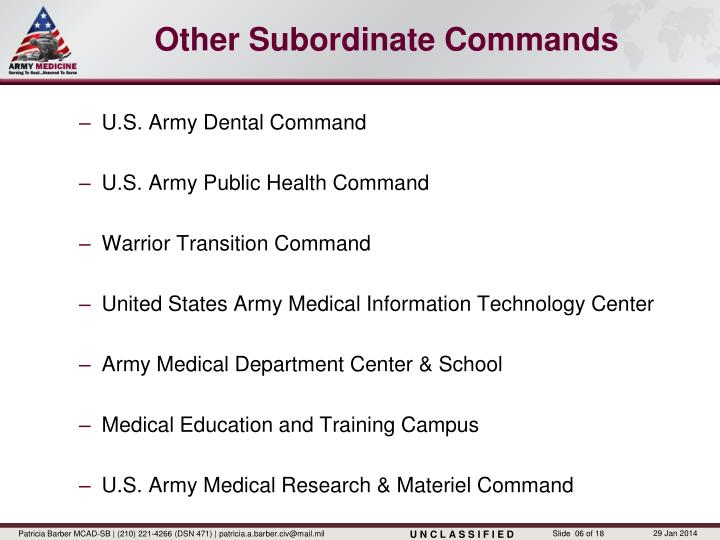 Other Subordinate Commands