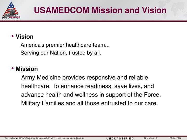 USAMEDCOM Mission and Vision