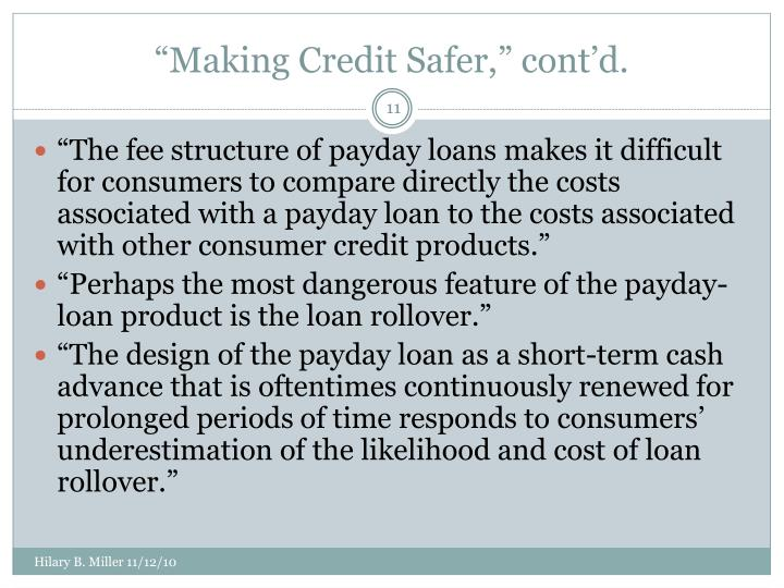 """Making Credit Safer,"" cont'd."