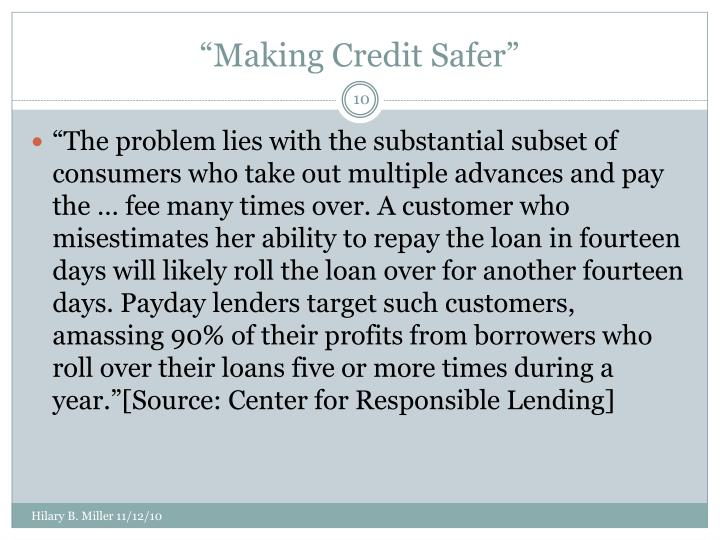 """Making Credit Safer"""