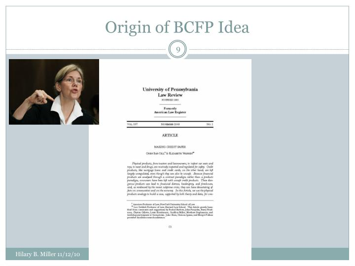Origin of BCFP Idea