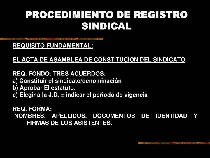 PROCEDIMIENTO DE REGISTRO SINDICAL