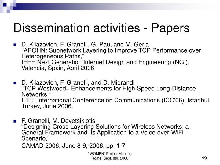 Dissemination activities - Papers