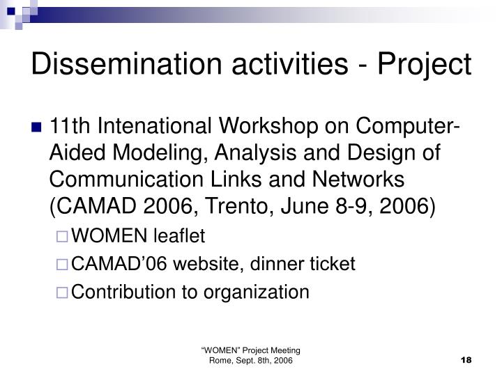 Dissemination activities - Project