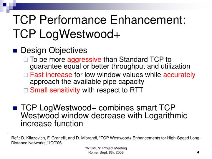 TCP Performance Enhancement: