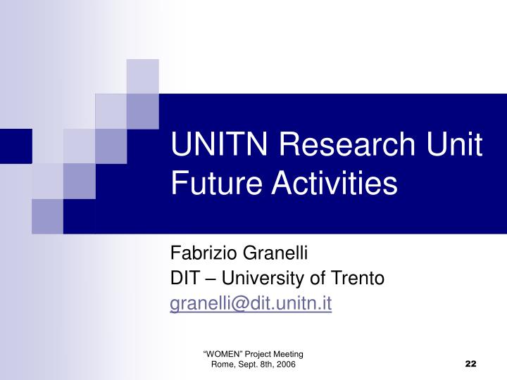 UNITN Research Unit