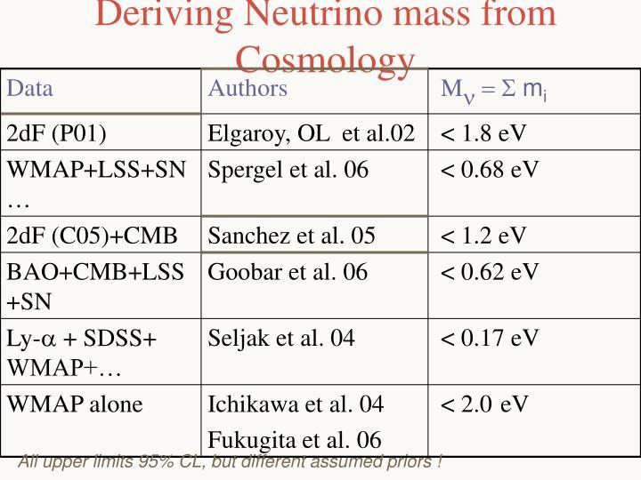 Deriving Neutrino mass from Cosmology