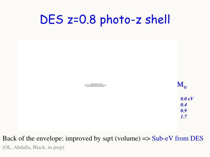 DES z=0.8 photo-z shell