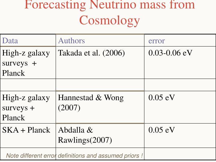 Forecasting Neutrino mass from Cosmology