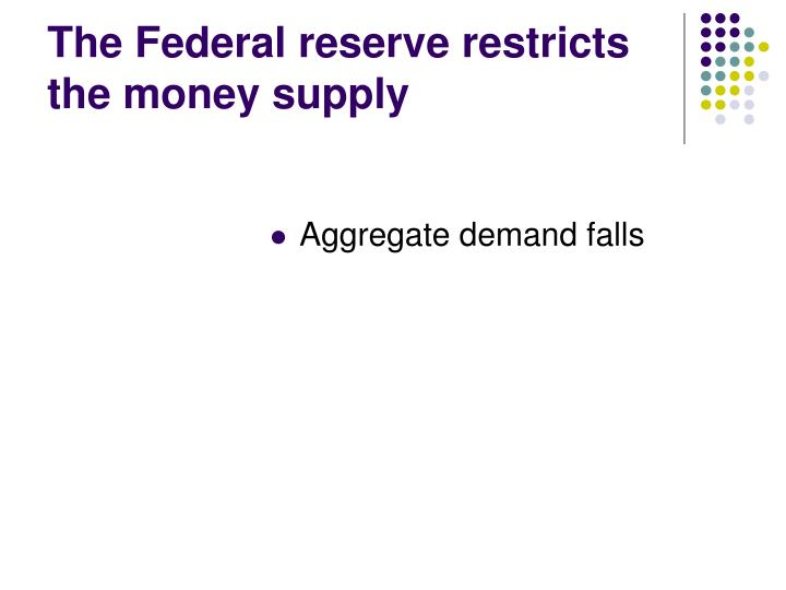 The Federal reserve restricts the money supply