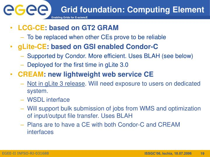 Grid foundation: Computing Element
