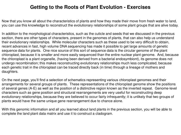 Getting to the Roots of Plant Evolution - Exercises