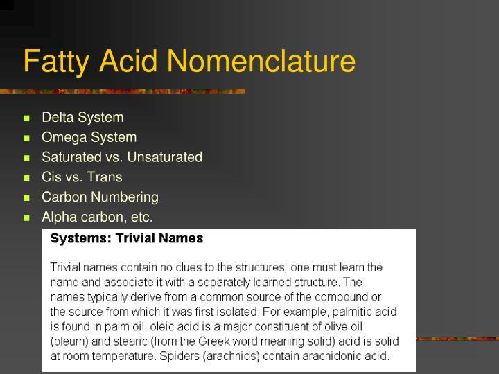 Fatty Acid Nomenclature