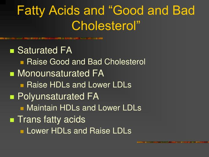 "Fatty Acids and ""Good and Bad Cholesterol"""