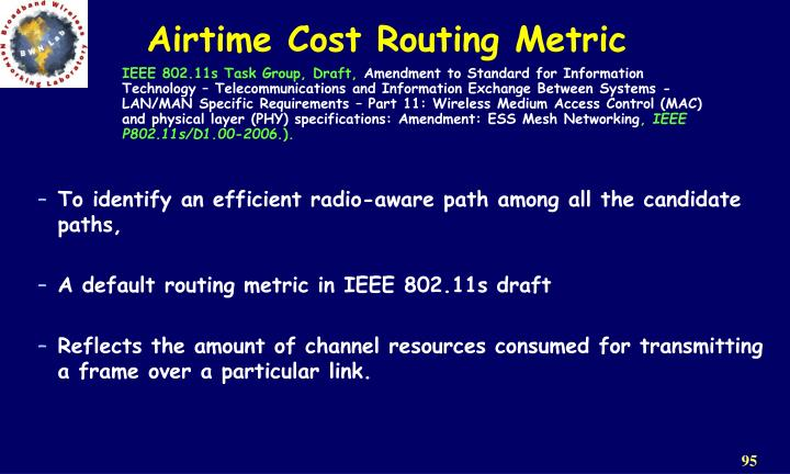 Airtime Cost Routing Metric