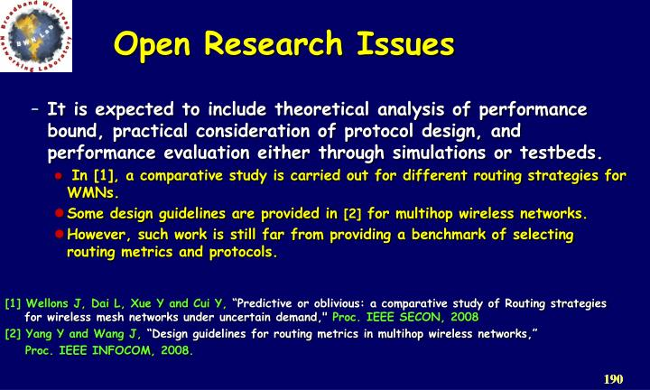 Open Research Issues