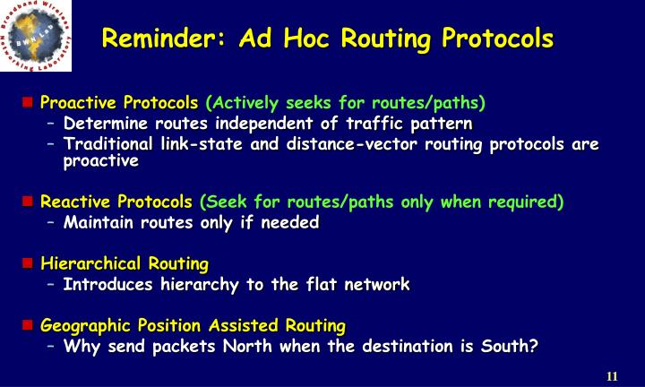Reminder: Ad Hoc Routing Protocols