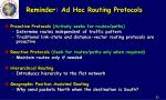 reminder ad hoc routing protocols